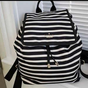Kate spade black and white stripe backpack
